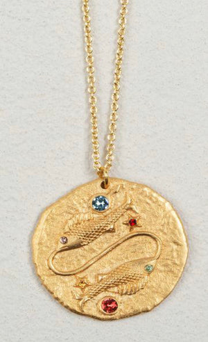 Jeweled Zodiac Coin Necklace