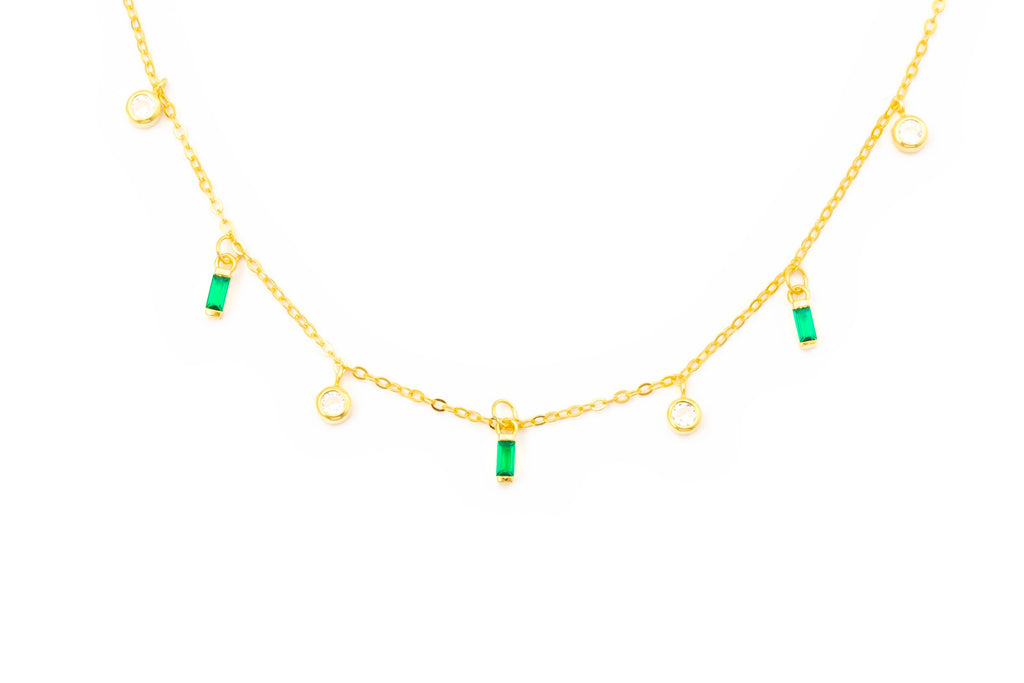 Emerald Dangle Charm Necklace