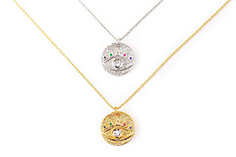 Jeweled evil eye coin necklace