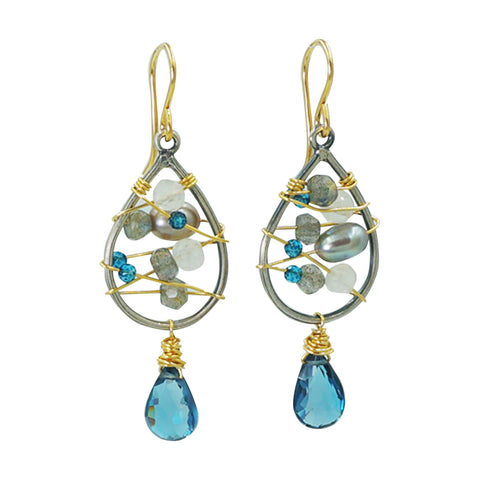 London Blue Topaz Earrings - Sati Gems Hawaii Healing Crystal Gemstone Jewelry