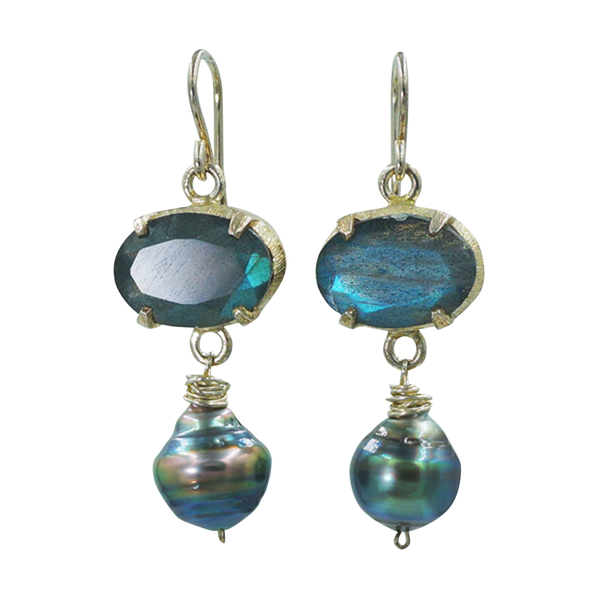 Labradorite Sterling Silver Tahitian Pearl Earrings - Sati Gems Hawaii