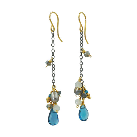 London Blue Topaz Mixed Gems Silver Earrings - Sati Gems Hawaii Healing Crystal Gemstone Jewelry
