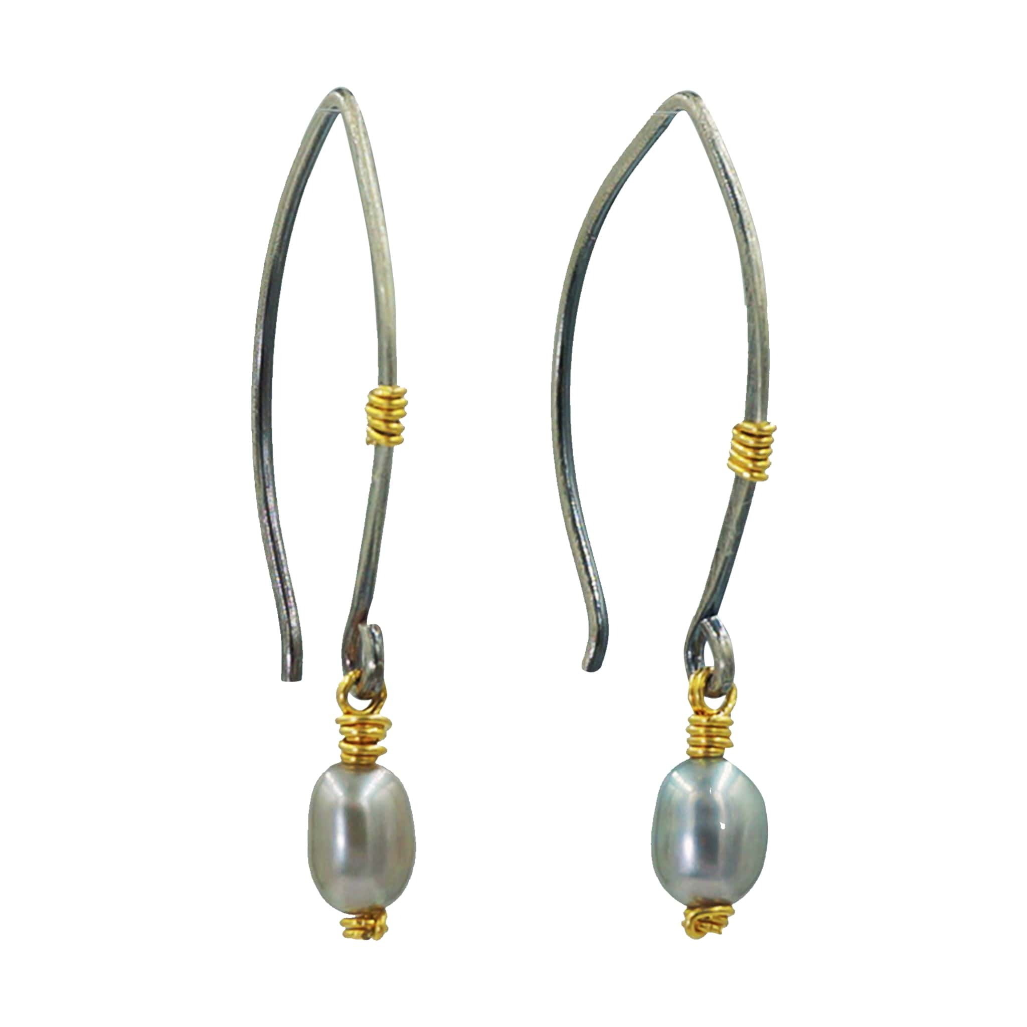 Sliver Pearl Earrings - Sati Gems Hawaii Healing Crystal Gemstone Jewelry
