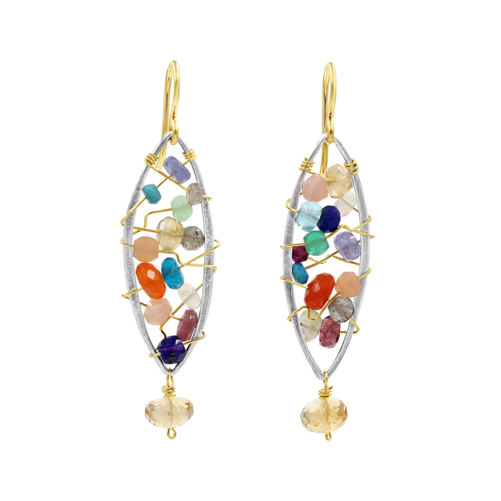 Anita Multi Gemstone Earrings - Sati Gems Hawaii