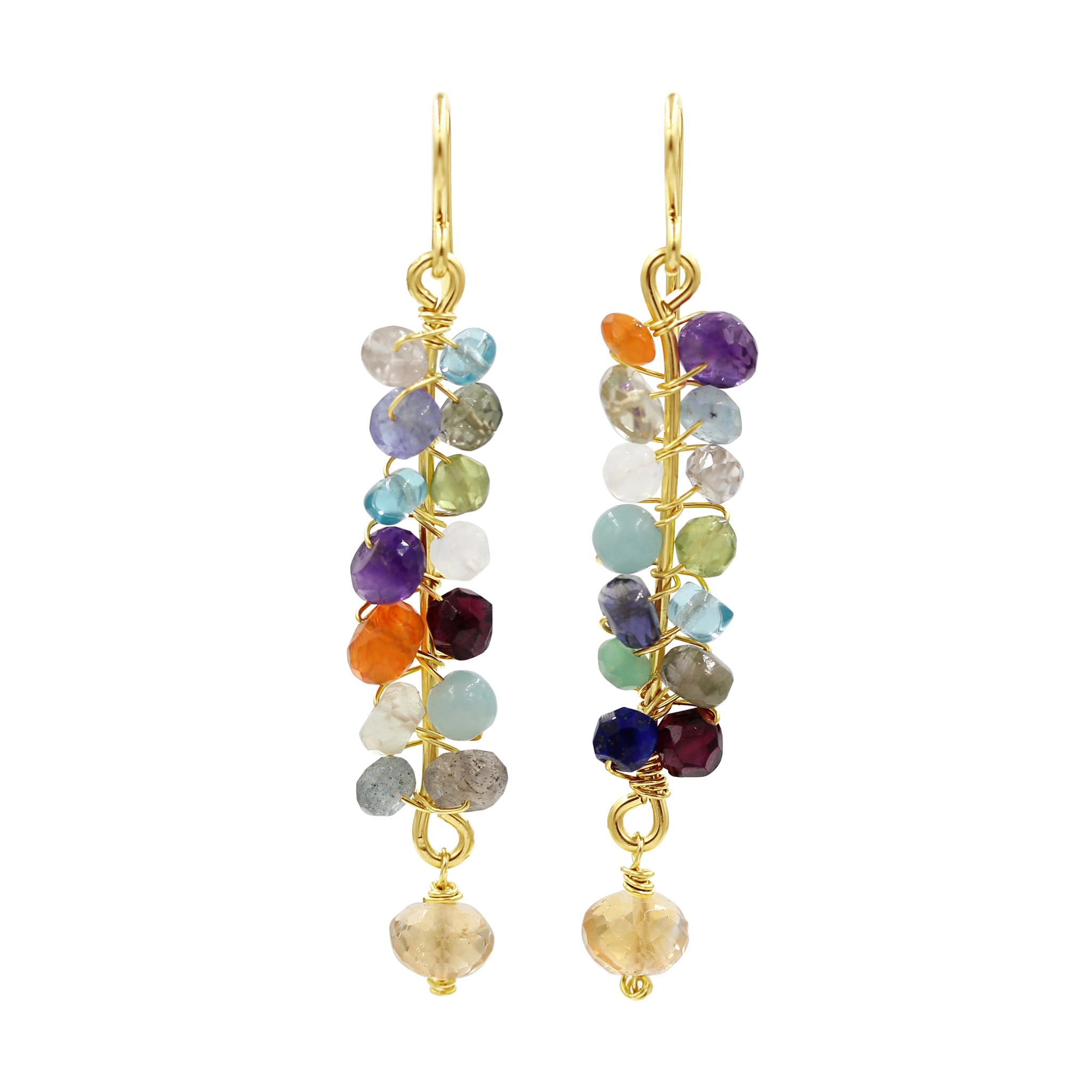 Fabulous Colorful Gemstone Earrings - Sati Gems Hawaii Healing Crystal Gemstone Jewelry