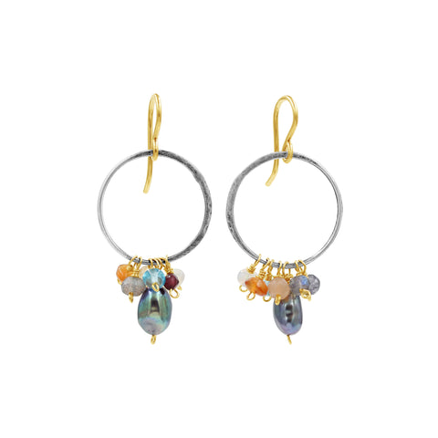 Multi Gemstone Earrings - Sati Gems Hawaii Healing Crystal Gemstone Jewelry
