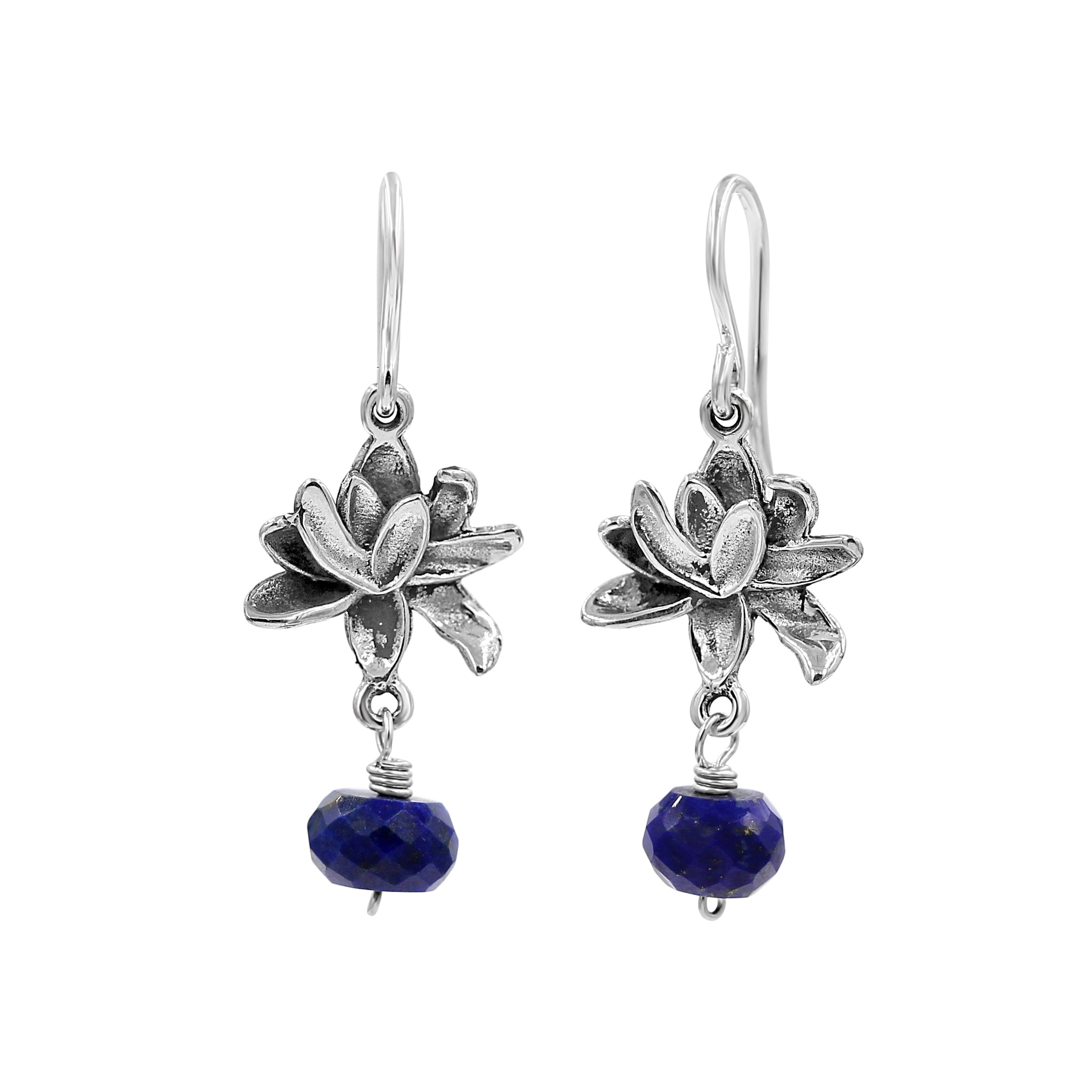 Blue Lapis Lotus Silver Earrings - Sati Gems Hawaii Healing Crystal Gemstone Jewelry