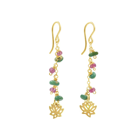 Pink Tourmaline and Turquoise Lotus Earrings - Sati Gems Hawaii Healing Crystal Gemstone Jewelry