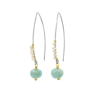 Ocean Aloha blue Amazonite drops on sterling silver ear wires - Sati Gems Hawaii Healing Crystal Gemstone Jewelry
