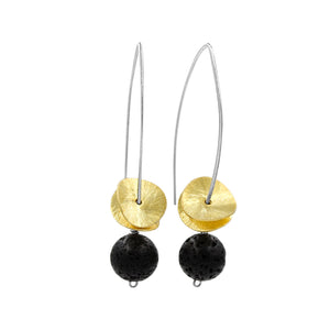Gold on Black Lava Earrings - Sati Gems Hawaii