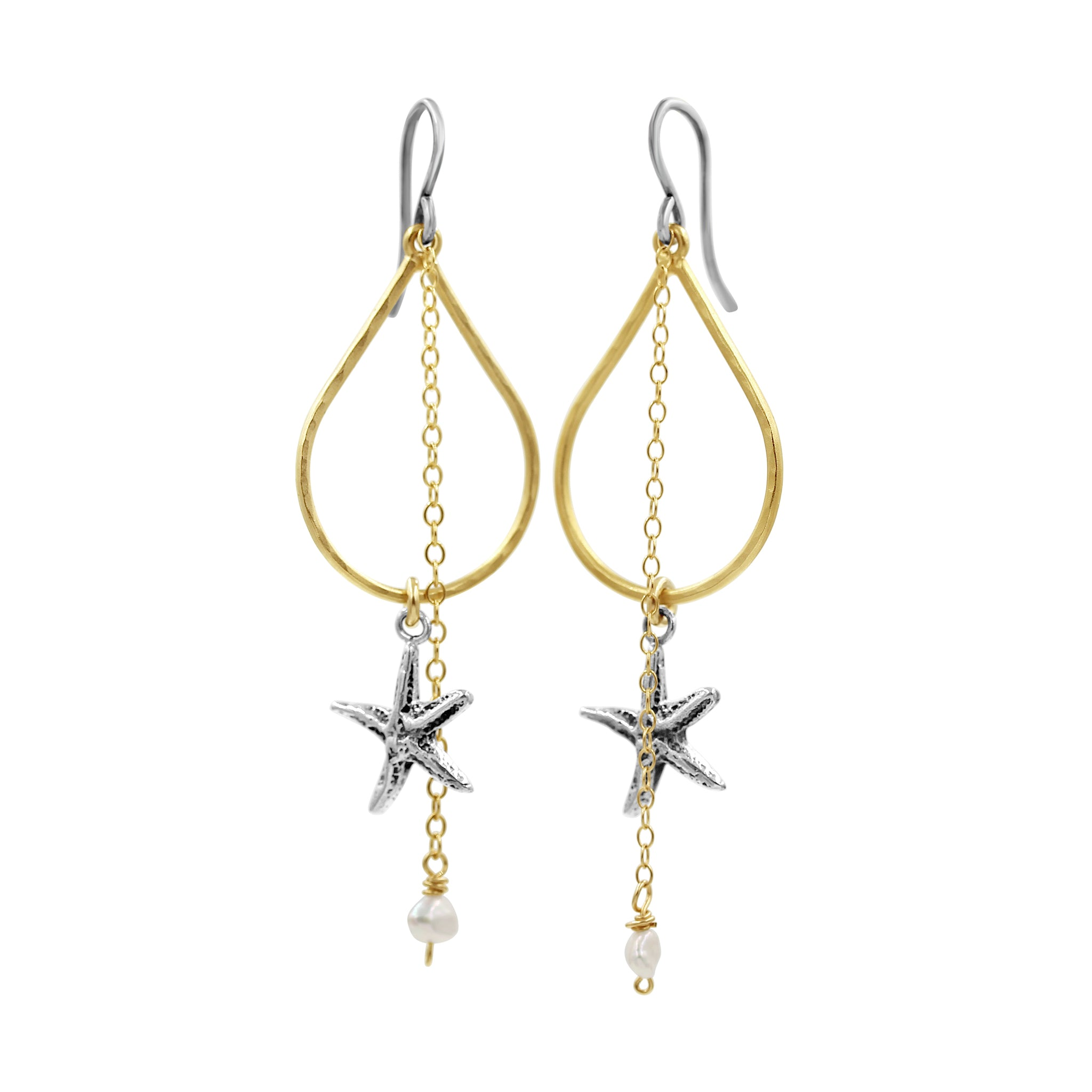 Double the Love Starfish Earrings - Sati Gems Hawaii Healing Crystal Gemstone Jewelry