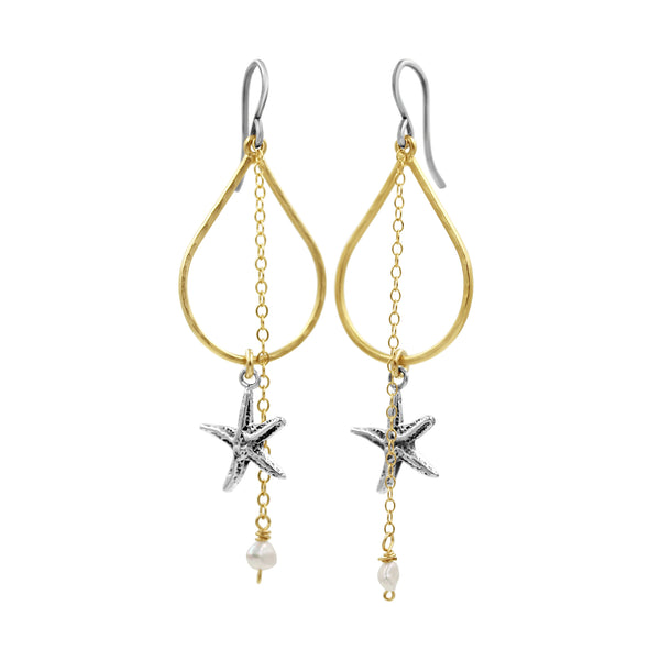 Double the Love Golden Starfish Earrings - Sati Gems Hawaii Healing Crystal Gemstone Jewelry