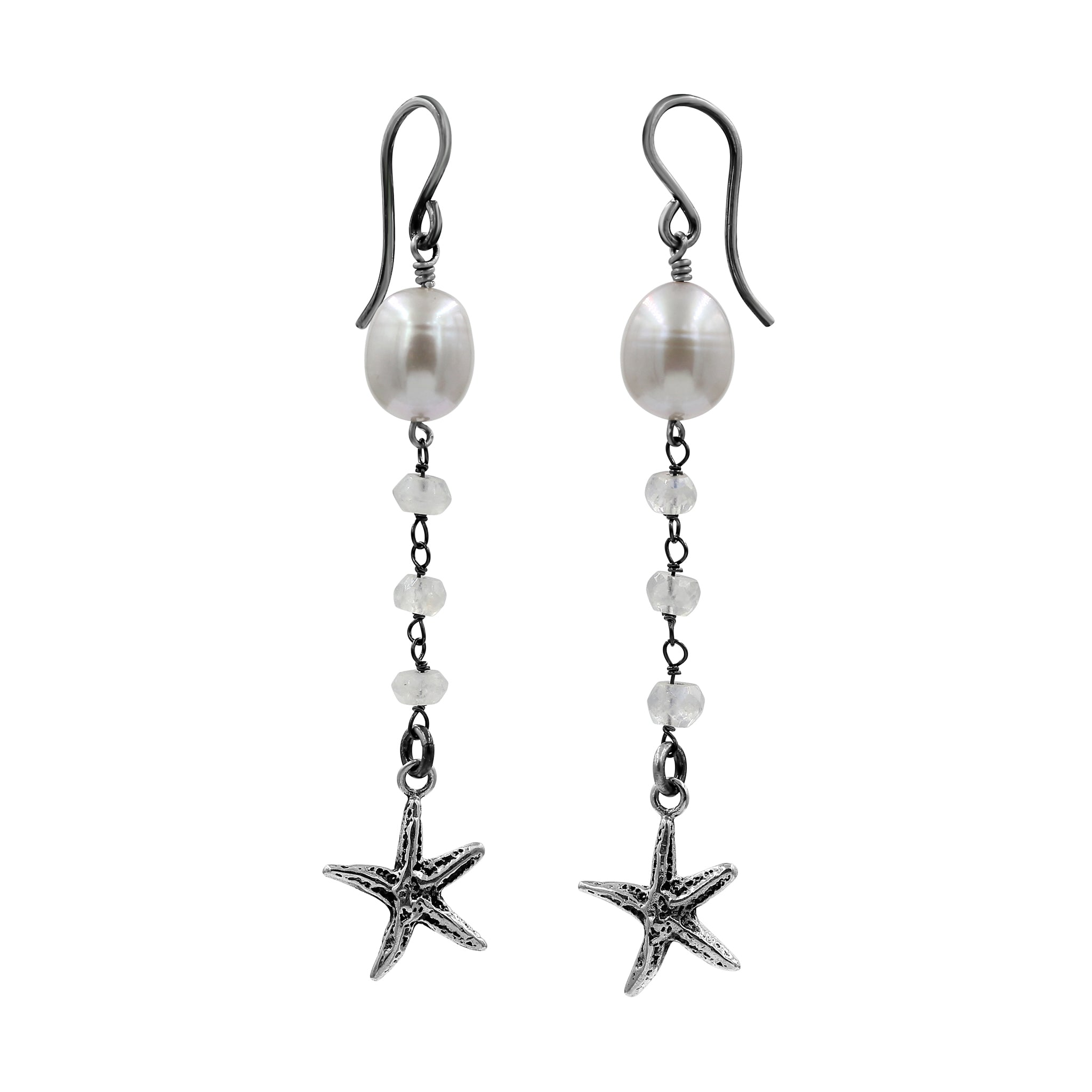 Star Bright Moonstone Earrings - Sati Gems Hawaii Healing Crystal Gemstone Jewelry