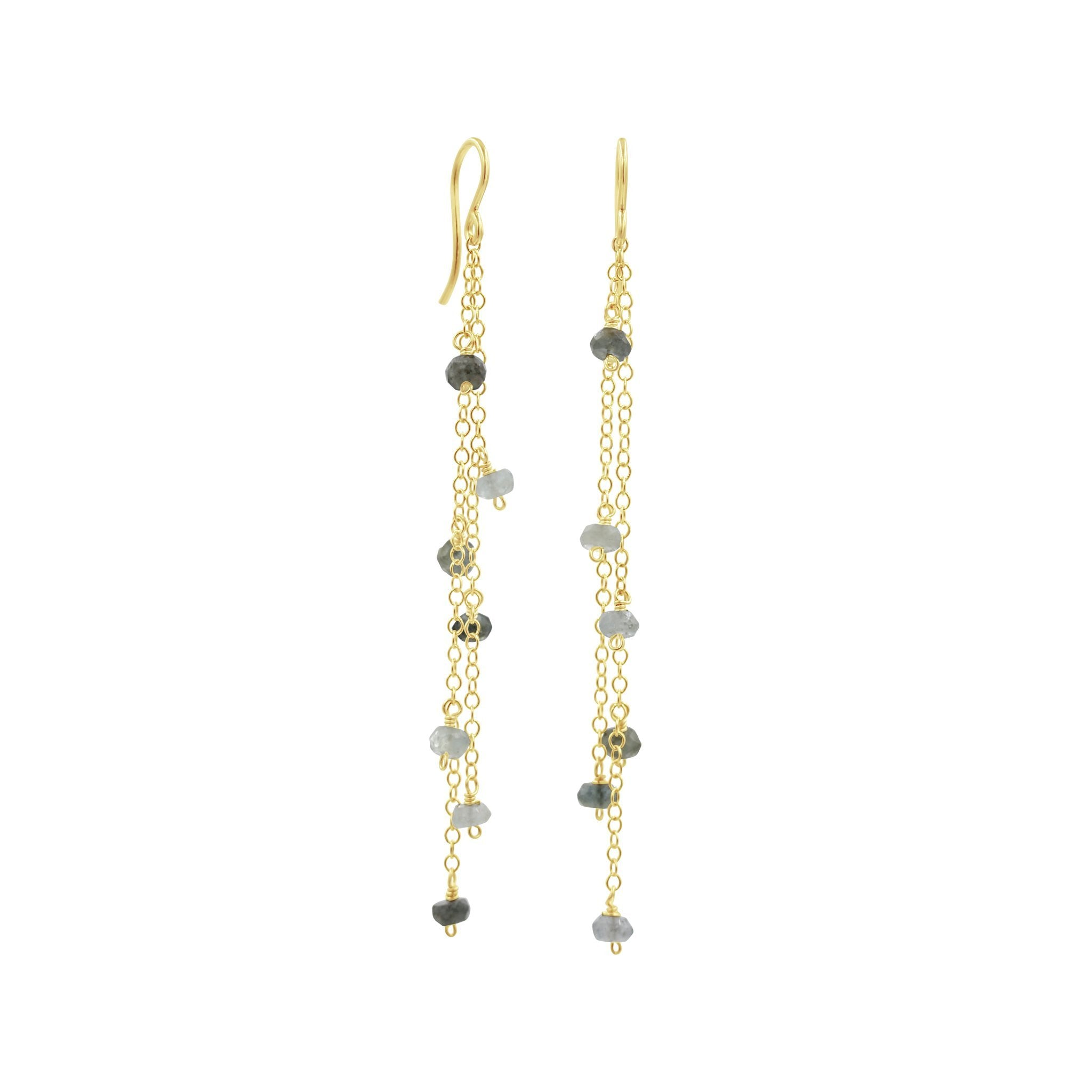 Dangle Gold Aquamarine Earrings - Sati Gems Hawaii