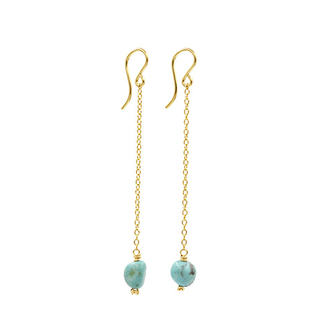 Ocean Rain Turquoise Earrings - Sati Gems Hawaii Healing Crystal Gemstone Jewelry