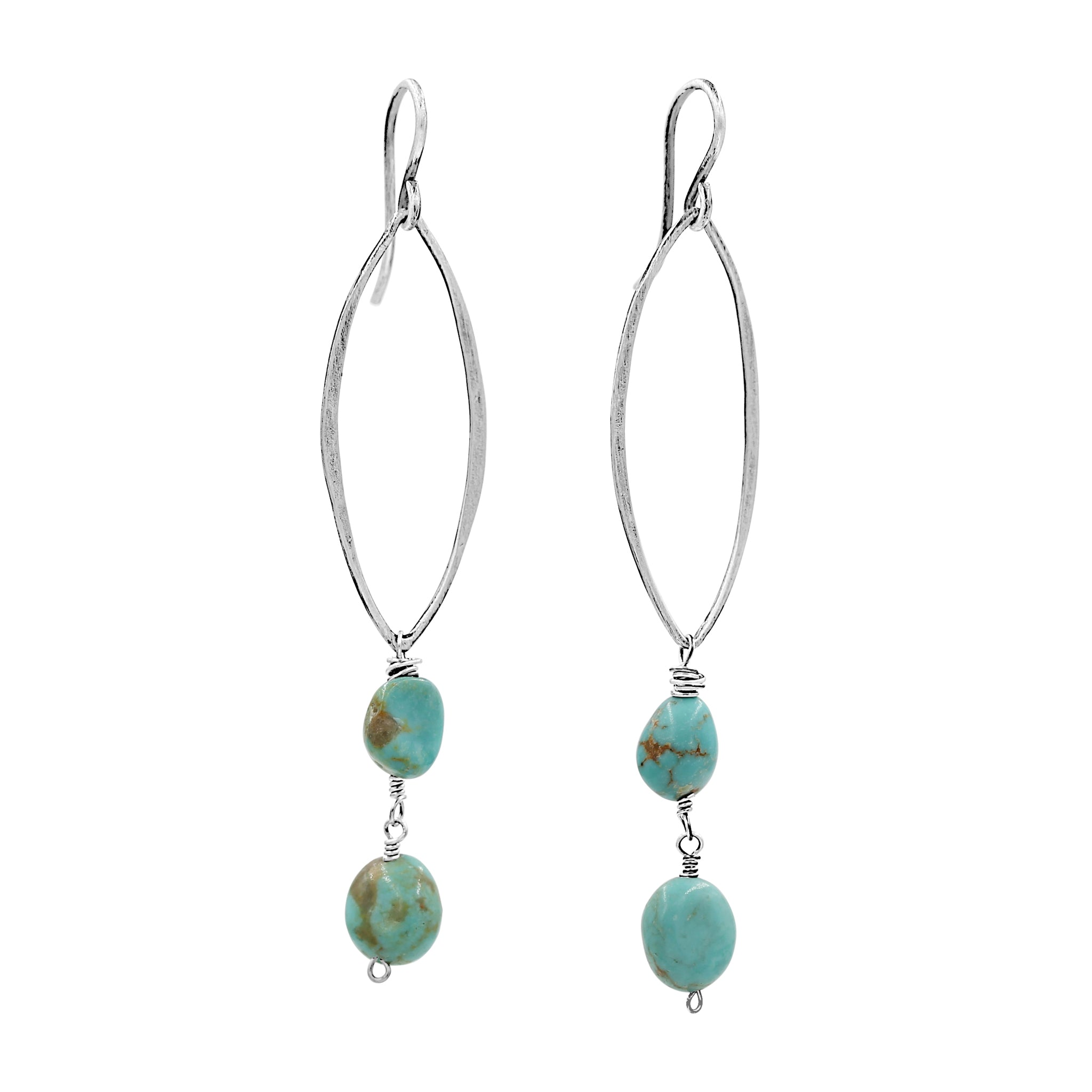 Perfect Blue Waves of Turquoise earrings - Sati Gems Hawaii Healing Crystal Gemstone Jewelry