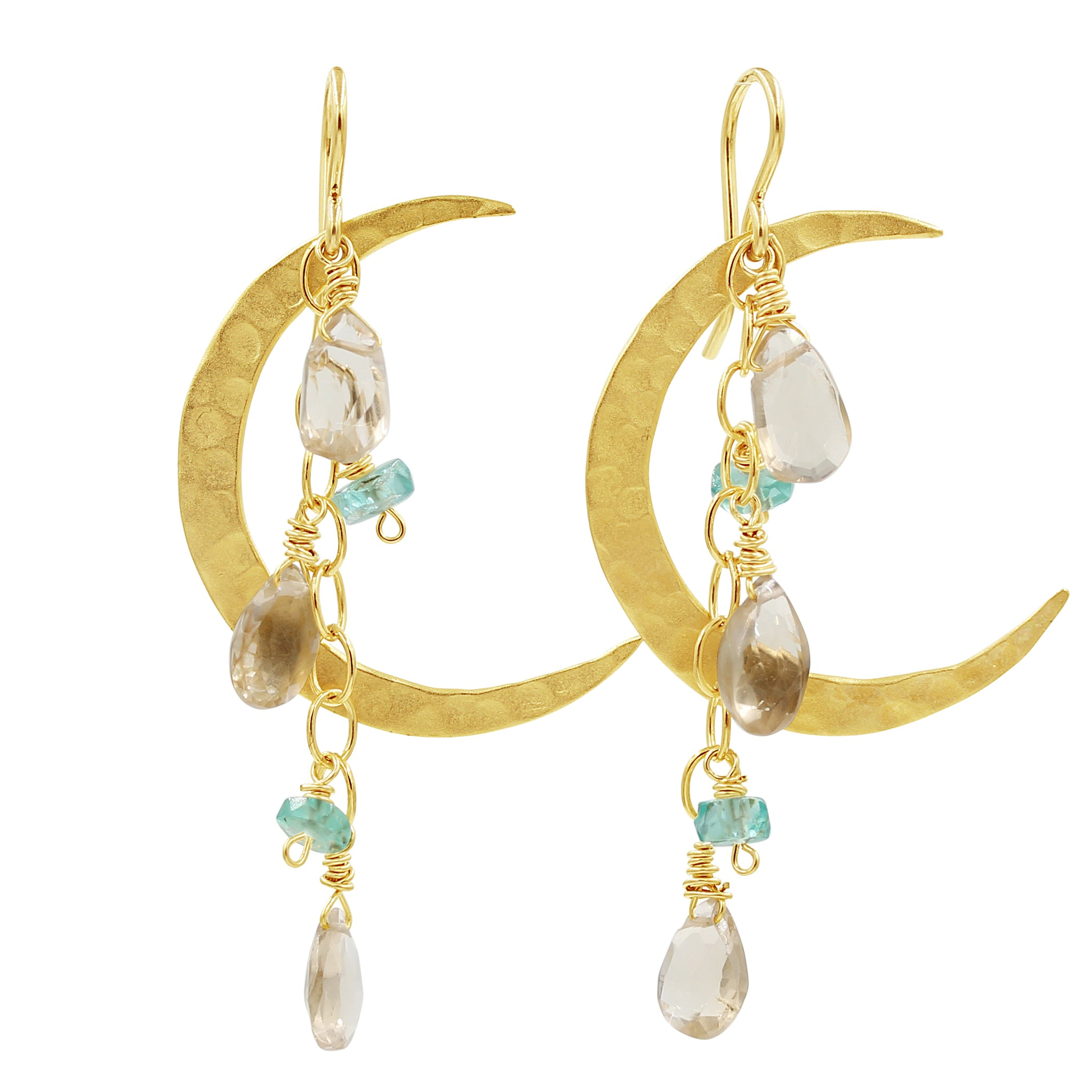 Under a Hula Moon Earrings - Sati Gems Hawaii Healing Crystal Gemstone Jewelry