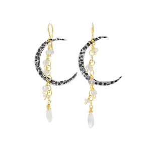 Cresent Moonstone Earrings - Sati Gems Hawaii