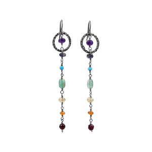 Multi Gemstone Silver earrings - Sati Gems Hawaii Healing Crystal Gemstone Jewelry