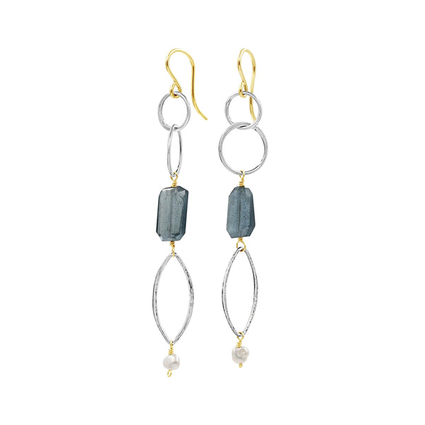 Moss Aquamarine Silver Earrings - Sati Gems Hawaii Healing Crystal Gemstone Jewelry