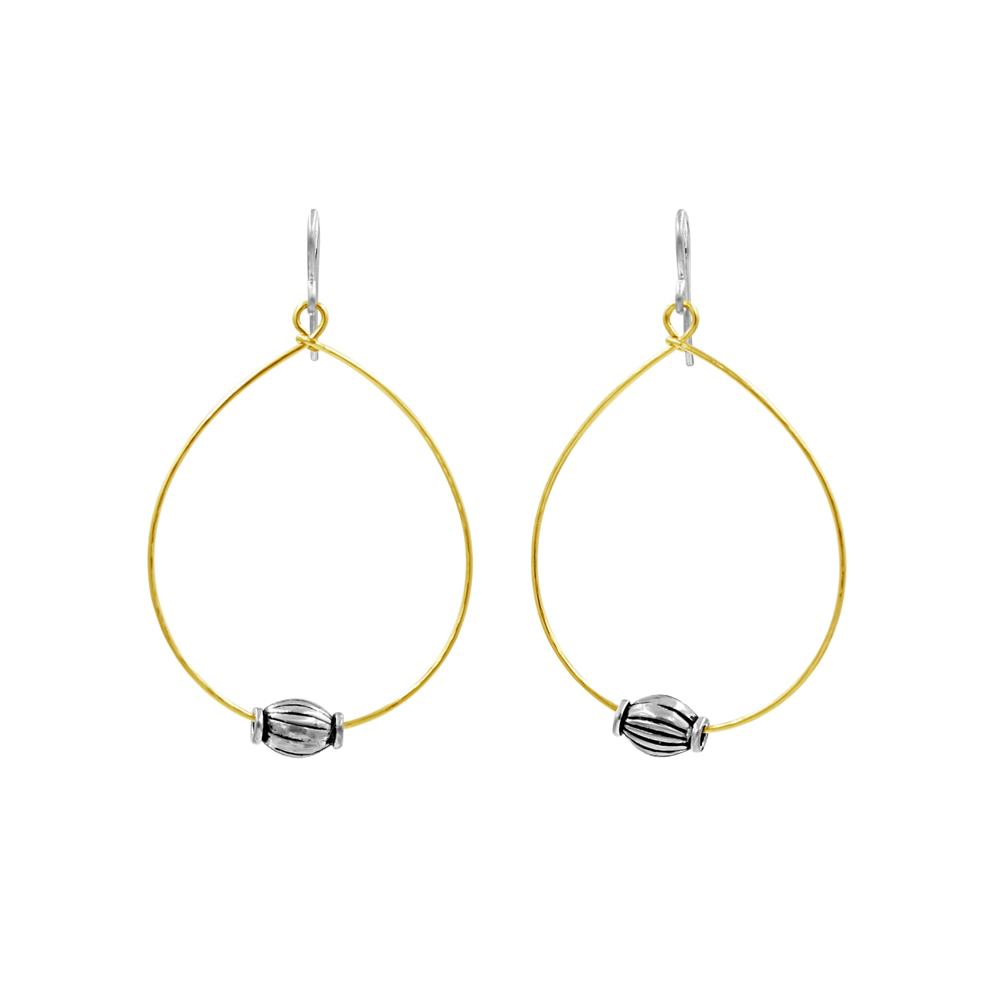 Silver & Gold Hoop Earrings - Sati Gems Hawaii Healing Crystal Gemstone Jewelry