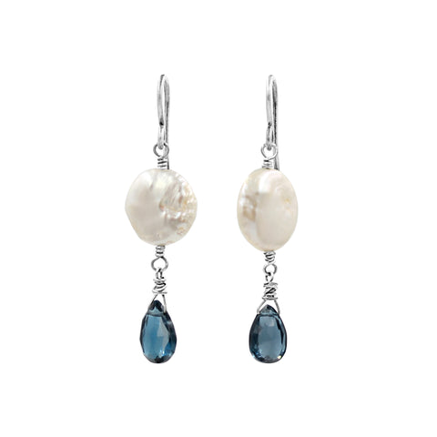 London Blue Topaz Silver Earrings - Sati Gems Hawaii