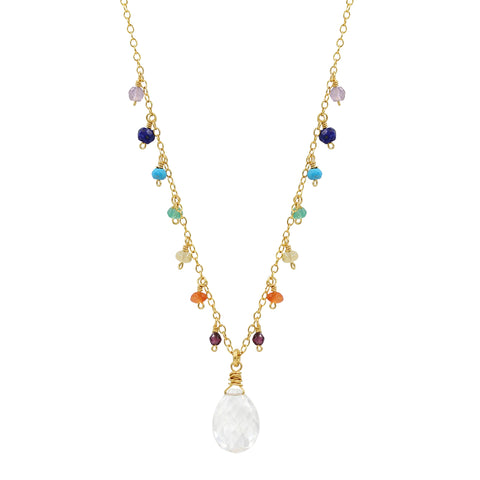 Chakra Balance Multi Gemstone Necklace - Sati Gems Hawaii Healing Crystal Gemstone Jewelry