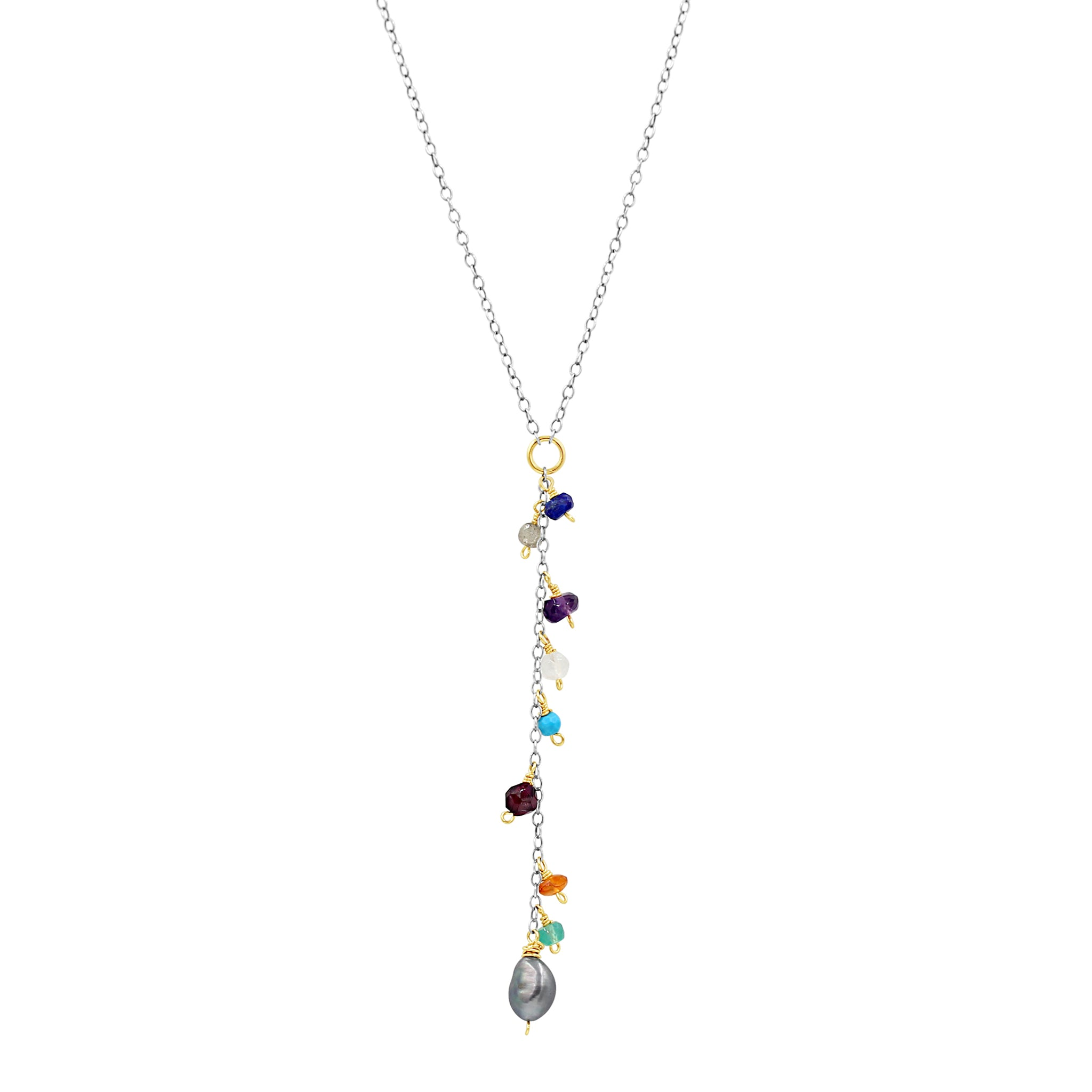Everyday Happiness Multi Color Gem Necklace - Sati Gems Hawaii Healing Crystal Gemstone Jewelry