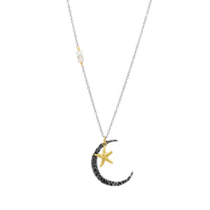 Joy Moon & Star  Necklace - Sati Gems Hawaii Healing Crystal Gemstone Jewelry