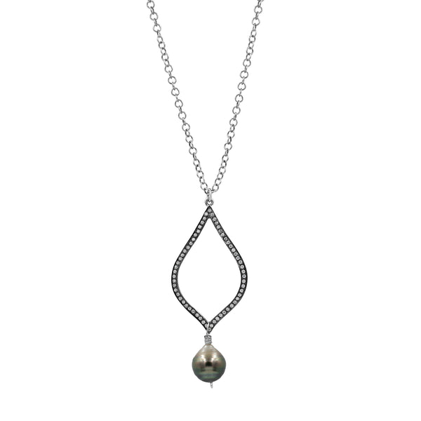 True Faith Tahitian Pearl Silver Necklace - Sati Gems Hawaii Healing Crystal Gemstone Jewelry