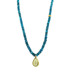 Apatite Necklace with Lemon Quartz drop - Sati Gems Hawaii Healing Crystal Gemstone Jewelry