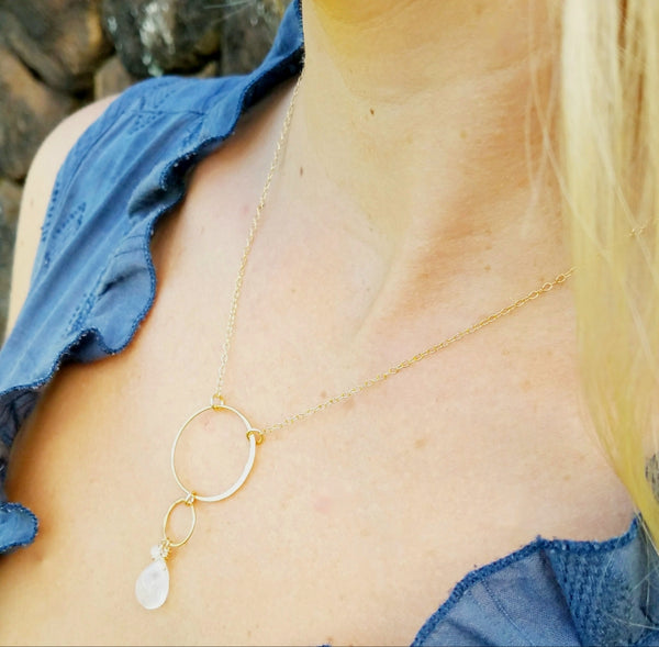 Moon Path Necklace Moonstone - Sati Gems Hawaii Healing Crystal Gemstone Jewelry