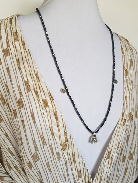 Black Spinel Silver Goddess Necklace - Sati Gems Hawaii Healing Crystal Gemstone Jewelry