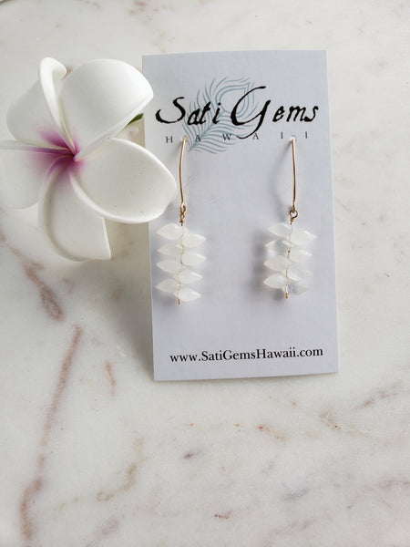 White Moonstone Gold Earrings - Sati Gems Hawaii