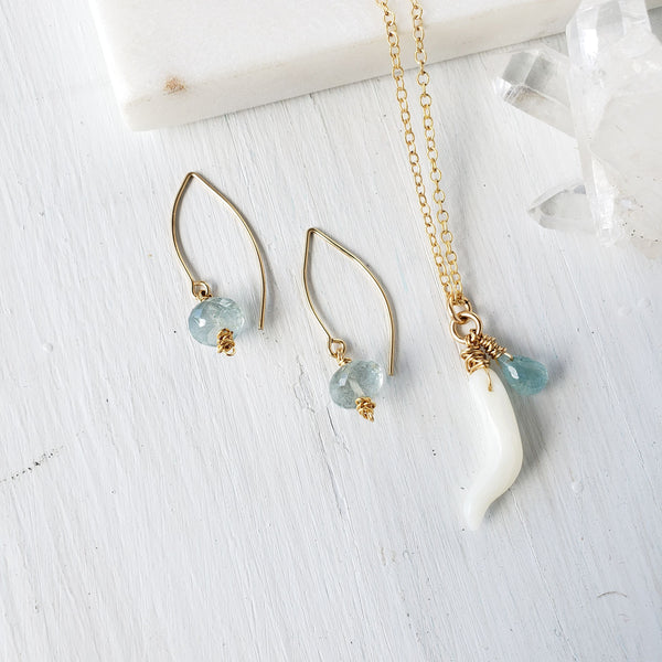 Aquamarine Simple and Sweet  Earrings - Sati Gems Hawaii
