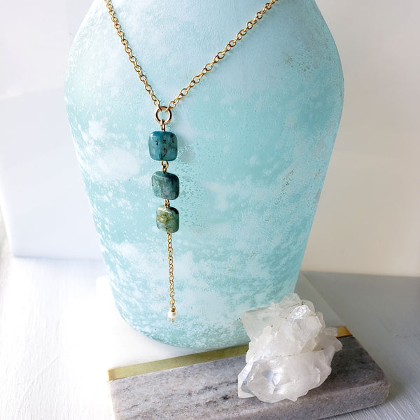 Gold Fill Kyanite Necklace - Sati Gems Hawaii Healing Crystal Gemstone Jewelry