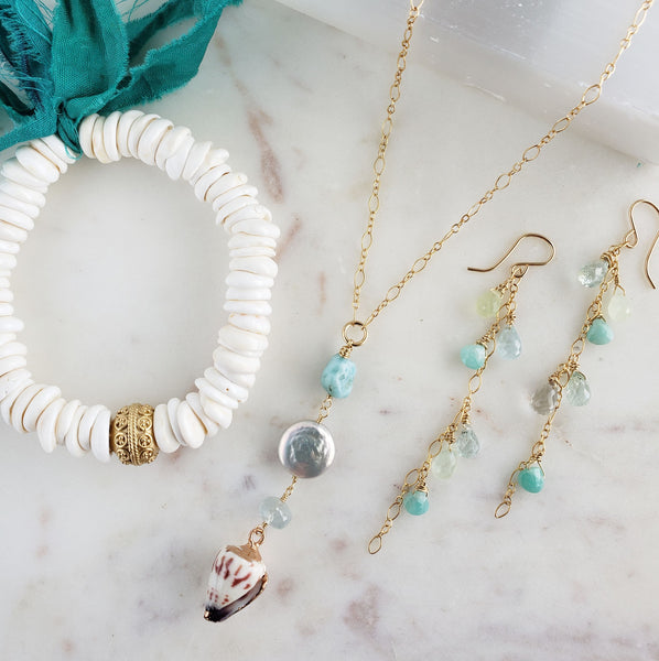 Amazonite Shell Drop Gold Fill Necklace - Sati Gems Hawaii Healing Crystal Gemstone Jewelry