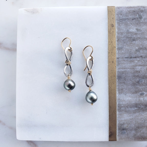 Here to Eternity Tahitian Pearl Earrings - Sati Gems Hawaii Healing Crystal Gemstone Jewelry