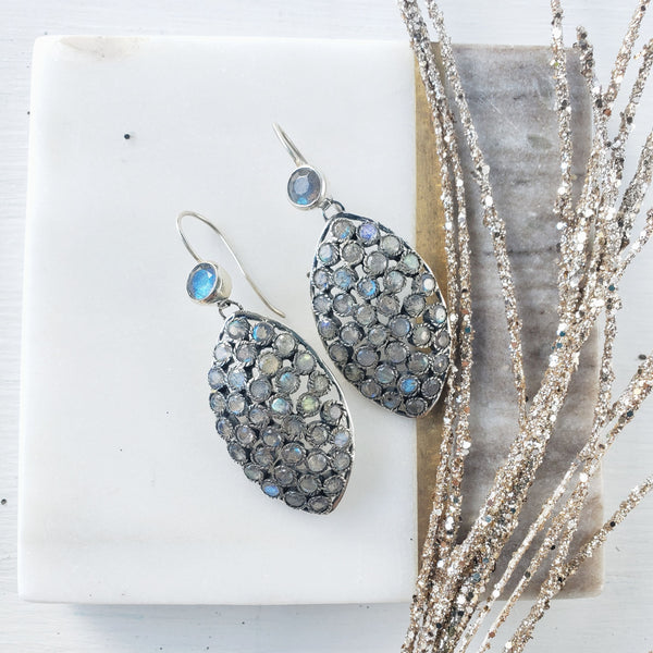 Labradorite Silver Earrings - Sati Gems Hawaii Healing Crystal Gemstone Jewelry