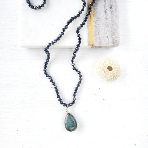 Black Spinel Necklace with Labradorite Gem Drop - Sati Gems Hawaii Healing Crystal Gemstone Jewelry