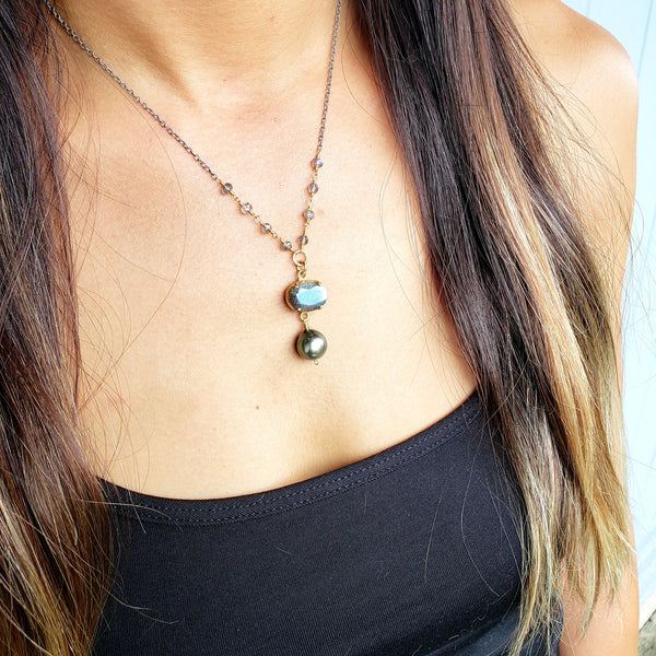 Labradorite Silver Gold Filled Tahitian Pearl Necklace - Sati Gems Hawaii