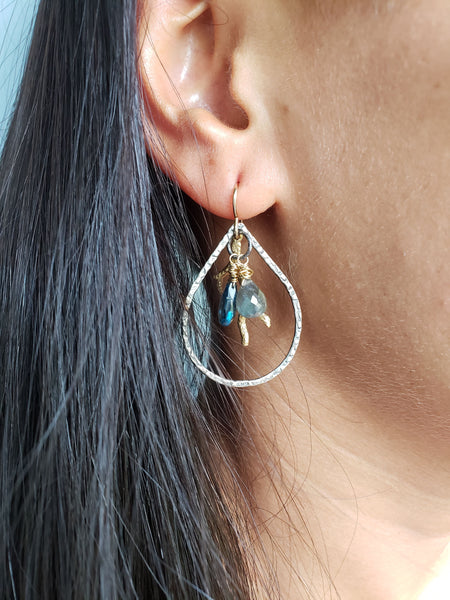 London Blue Topaz Coral Branch Earrings - Sati Gems Hawaii Healing Crystal Gemstone Jewelry