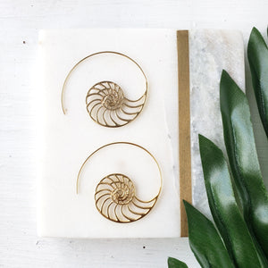 Sterling Silver Shell Hoop Earrings - Sati Gems Hawaii