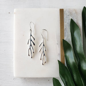 Coral Branch Silver Earrings - Sati Gems Hawaii Healing Crystal Gemstone Jewelry