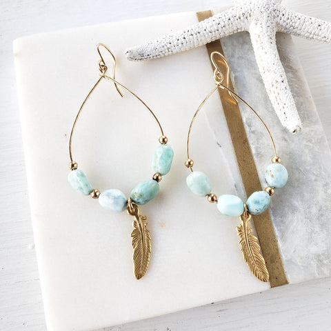 Gold Larimar Hoop Feather Earrings - Sati Gems Hawaii Healing Crystal Gemstone Jewelry