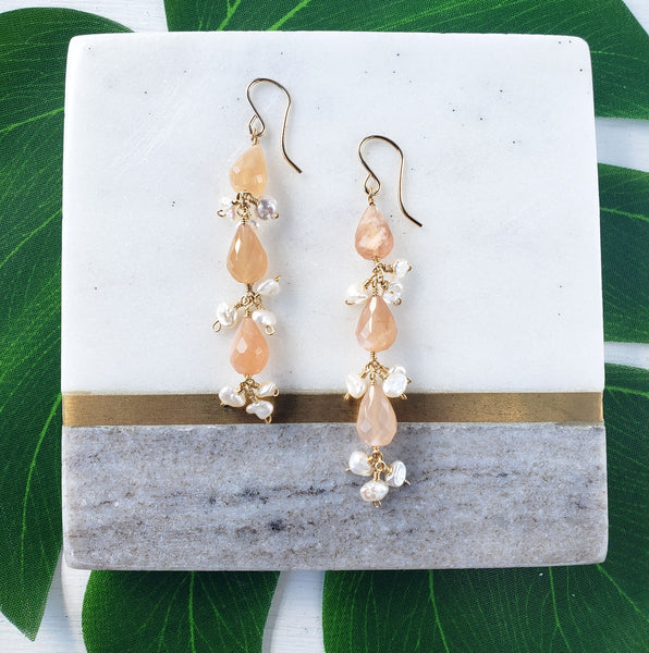 Moonstone Earrings - Sati Gems Hawaii Healing Crystal Gemstone Jewelry