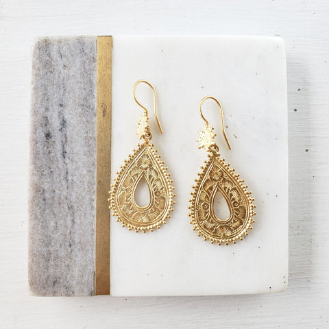 Gold Vermeil Goddess Earrings - Sati Gems Hawaii Healing Crystal Gemstone Jewelry