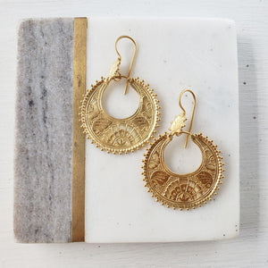 Gold Engraved Earrings - Sati Gems Hawaii Healing Crystal Gemstone Jewelry