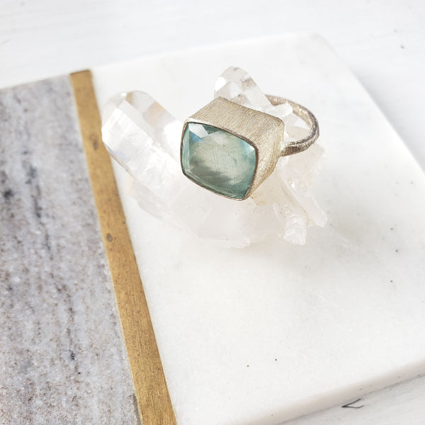 Cushion Shaped Aquamarine Silver Ring - Sati Gems Hawaii