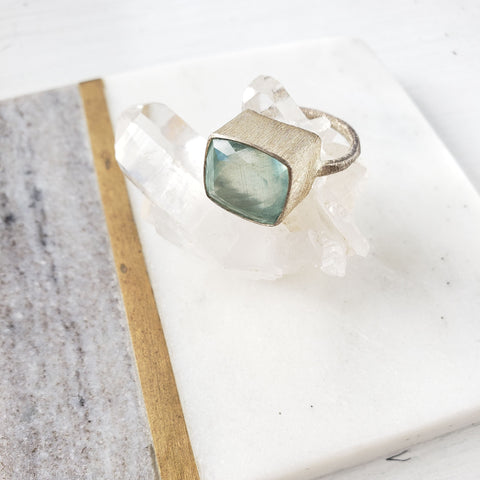Cushion Shaped Aquamarine Silver Ring - Sati Gems Hawaii Healing Crystal Gemstone Jewelry